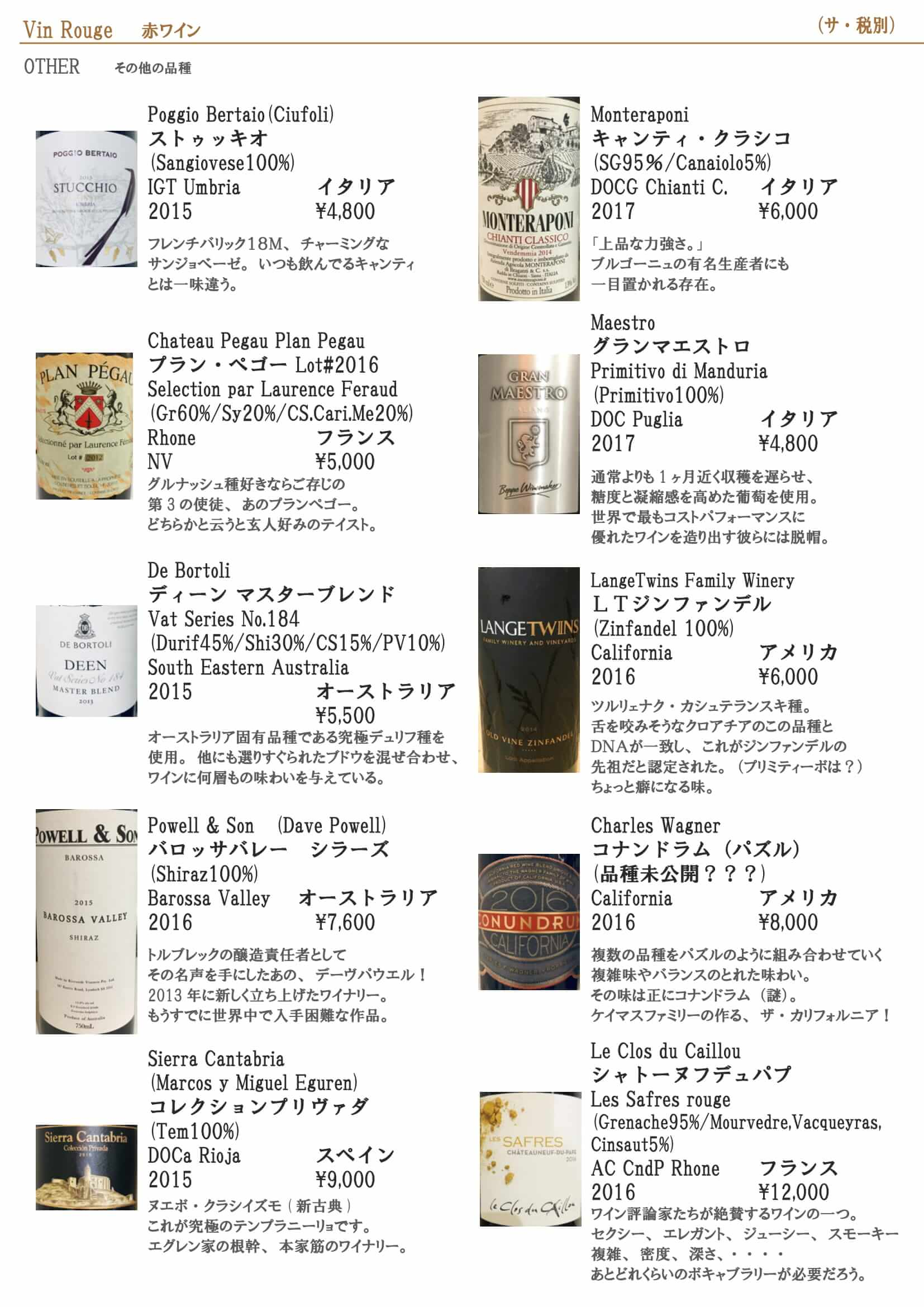 赤ワインリスト 2020.4b-1